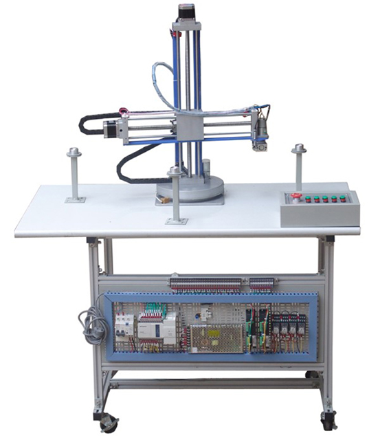 一、概述 本实验装置是我公司依据国家自动化及机电一体化教学的要求而开发的,它是一个将PLC技术、定位控制技术、步进电机控制技术、直流减速电机技术、电子遥控通讯技术等有机结合成一体的教学实验系统。 本实验系统结合配套软件可给学生开展控制系统的位置控制、电机调速、PLC编程等实验,并可针对机械制造及自动化、电子自动化、电气自动化、电气工程、测控技术与仪器、电子通信等专业的《机电传动与控制》、《PLC原理及应用》、《运动控制》、《机电一体化技术》、《检测与转换技术》等课程开设实验课,也可作为本科生毕业设计、课程